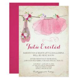 Shabby Chic Girl Ballerina Baby Shower Invitation