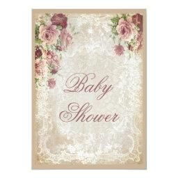 Shabby Chic Roses Pearls And Lace Baby Shower Invitations