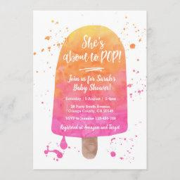 She's About To Pop Baby Shower Popsicle Invitation