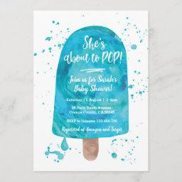 She's About To Pop Blue Baby Shower Invitation