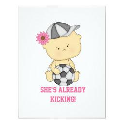 She's Already Kicking Soccer Baby Shower Invite