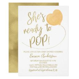 She's Ready To Pop Baby Shower Invitation