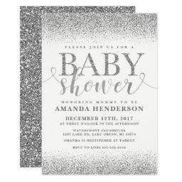 Silver Faux Glitter Baby Shower Invitation