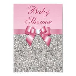 Silver Gems, Bow & Diamonds Girls Pink Baby Shower Invitation