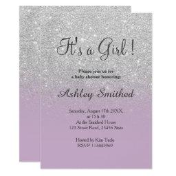 Silver Glitter Purple Ombre Girl Baby Shower Invitations