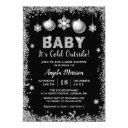 Silver Glitters Snowflakes Baby It's Cold Outside Invitation