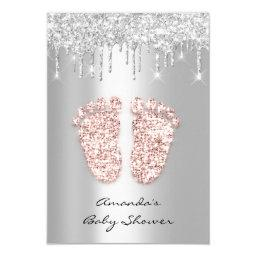 Silver Gray Baby Girl Boy Shower Feet Foot Drips Invitation