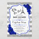 Silver Royal Blue Roses French Style Baby Shower Invitation
