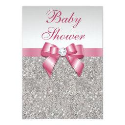 Silver Sequins and Bow Girls Pink Baby Shower