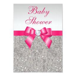 Silver Sequins Hot Pink Bow Girls Baby Shower