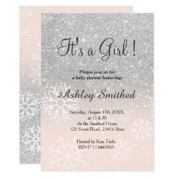Silver Snow Glitter Pink Ombre Girl Baby Shower Invitation