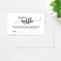 Simple Black Calligraphy Diaper Raffle Insert
