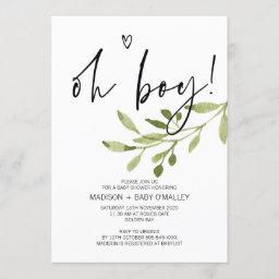Simple Eucalyptus Oh Boy Baby Shower Party Invitation