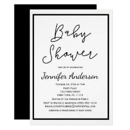 Simple Gender Neutral Black White Baby Shower Invitations