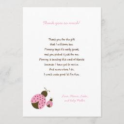 Simple Pink Ladybug baby shower thank you notes