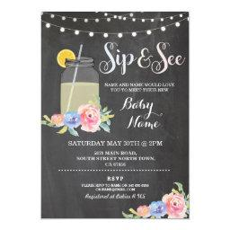 Sip and See Baby Shower Floral Chalk Rustic Invite