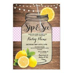 Sip and See Baby Shower Wood Rustic Pink Invite