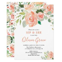 Sip And See Floral Watercolors Greenery Girl Baby