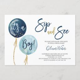 Sip And See Navy Blue Balloons Baby Shower Boy Invitation