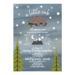 Sleepy Bear Cub Mountains Watercolor Baby Shower