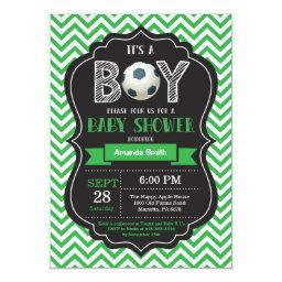 Soccer Baby Shower  Green Chevron