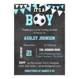 Soccer It's A Boy Baby Shower Chalkboard Blue Boy Invitation