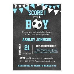 Soccer It's A Boy Baby Shower Chalkboard Blue Boy