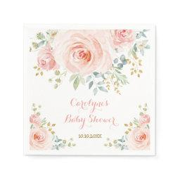 Soft Pastel Pink Blush Watercolor Rose Baby Shower Napkins