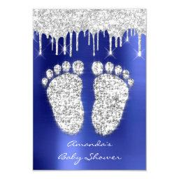 Spark Drips Silver Royal Blue Baby Shower Feet Invitation