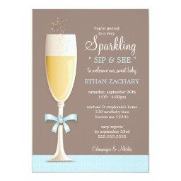 Sparkling New Baby Boy Sip And See Invitations