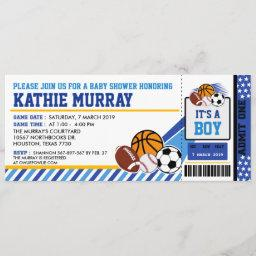 Sport Ticket Pass Baby Shower Invitation