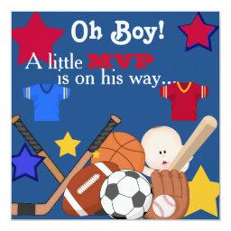 Sports Boys Baby Shower Invitation