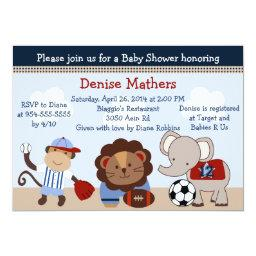 Sports Teammates/animals Baby Shower Invitation