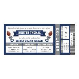 Sports Ticket Baby Shower Invitation, Blue, Gray Invitation