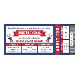 Sports Ticket Baby Shower Invitations, Blue, Red Invitations