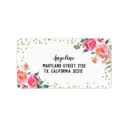 Spring Floral Pink Gold Address Label