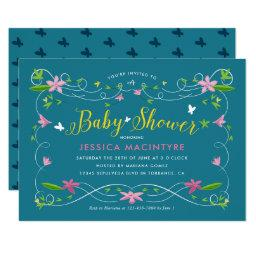 Spring Garden Turquoise Yellow Gender Baby Shower