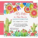 Square Fiesta Cactus Baby Shower Girl Paper Fan Invitation
