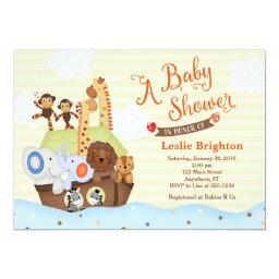 Ss Noah / Noah's Ark Baby Shower Invitation
