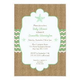 Starfish  invites sea green burlap