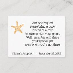 Starfish Story Adoption Party Book Request Enclosure Card