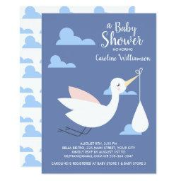 Stork baby shower invitations babyshowerinvitations4u stork baby shower baby bundle clouds filmwisefo