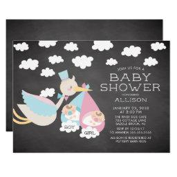 Stork & Boy Girl Twins Baby Shower Invitation