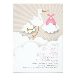 Stork + Clouds Baby Shower - Pink Invitation