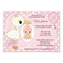 Stork Delivery baby shower  GIRL PINK 1A