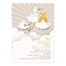 Stork In The Clouds Baby Shower - Orange Invitation
