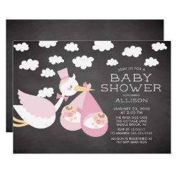 Stork & Twin Girls Twins Baby Shower Invitation