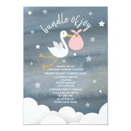 Stork With Pink Bundle Stars Baby Shower