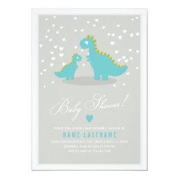 Stylish Blue Grey Dinosaur Baby Shower