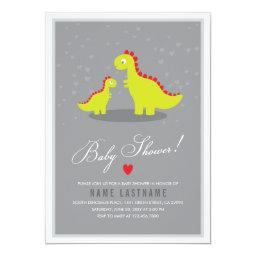 Stylish Dinosaur Grey Baby Shower